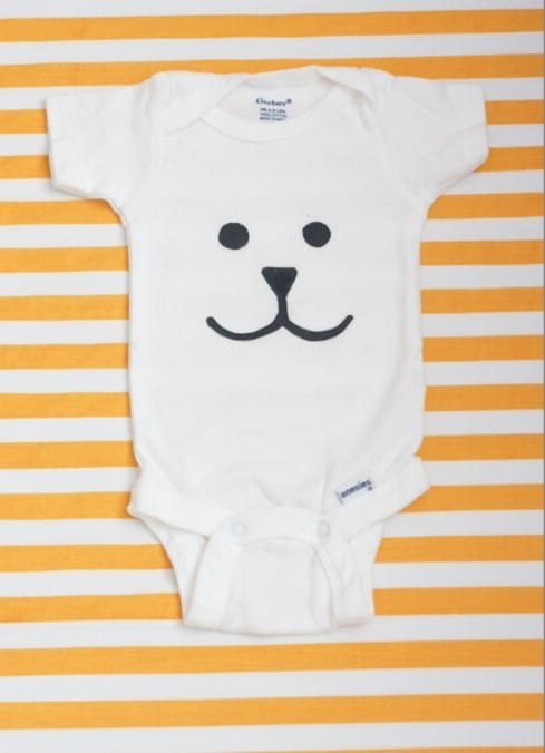 Lil' Man Onesie Freezer Paper Stencils - Top 28 Most Adorable DIY Baby Projects Of All Time