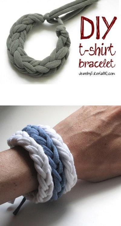 Make Your Own Jersey T-Shirt Bracelets
