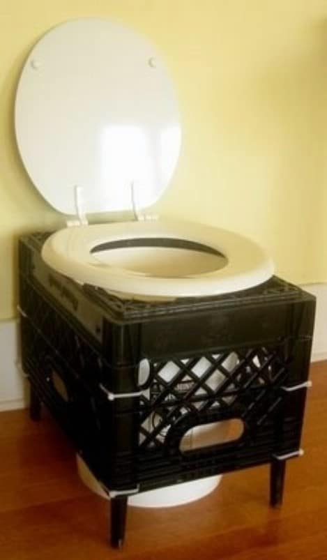 Humanure Dry Toilet Made From a Milk Crate - Top 33 Most Creative Camping DIY Projects and Clever Ideas