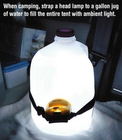 Point a head lamp into a jug of water for portable night lantern. - Top 33 Most Creative Camping DIY Projects and Clever Ideas
