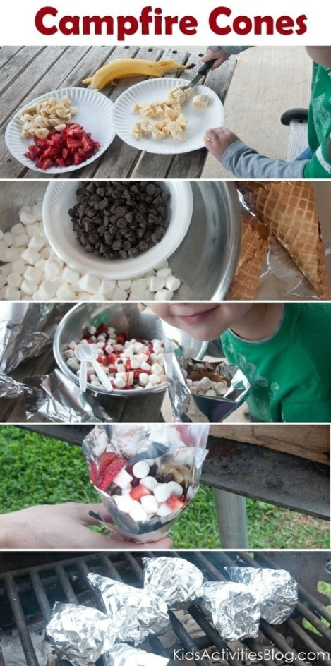Camp Fire Food: Fruit & Smore Cones - Top 33 Most Creative Camping DIY Projects and Clever Ideas