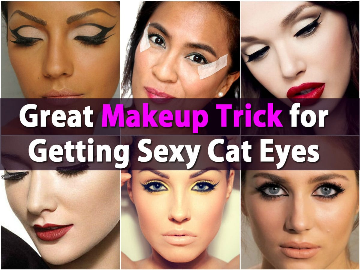 Great Makeup Trick for Getting Sexy Cat Eyes Using Scotch Tape