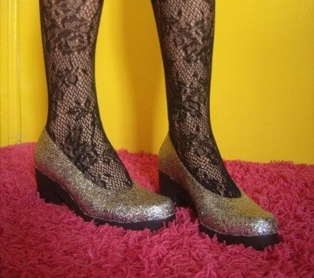 Anthro Inspired Glitter Shoes - 32 Brilliant DIY Anthropologie Knockoffs