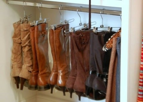 Use Pant Hangers to Organize Your Boots - Top 58 Most Creative Home-Organizing Ideas and DIY Projects