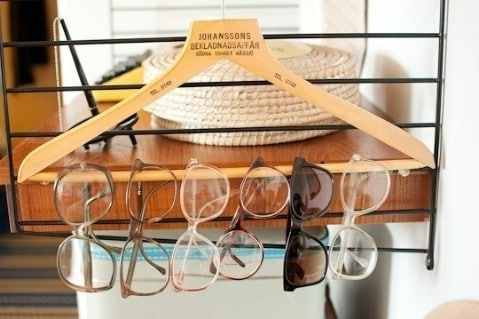 Use a Hanger to Store Eyewear - Top 58 Most Creative Home-Organizing Ideas and DIY Projects