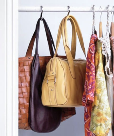Hang Handbags Using Shower Curtain Hooks - Top 58 Most Creative Home-Organizing Ideas and DIY Projects