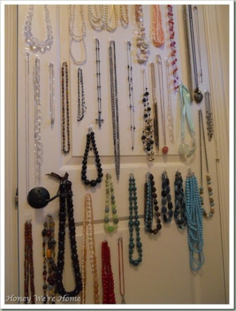 Keep Your Jewelry in a Closet Using Command Hooks - Top 58 Most Creative Home-Organizing Ideas and DIY Projects