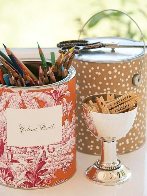 Make Sure to Repurpose Everything (paint cans, tins, mason jars, and plastic containers) for Future Storage Usage - Top 58 Most Creative Home-Organizing Ideas and DIY Projects