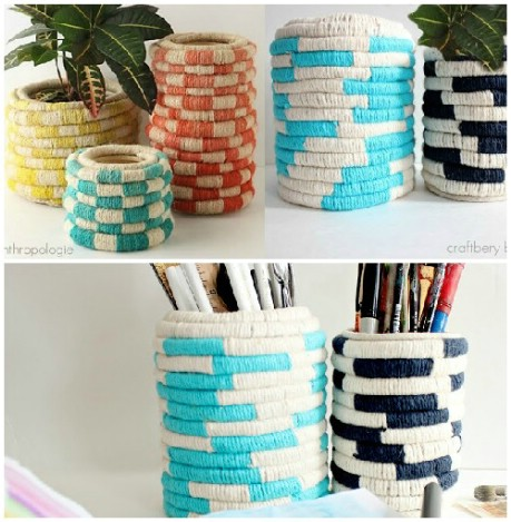 DIY Anthro inspired rope coil planters. - 32 Brilliant DIY Anthropologie Knockoffs