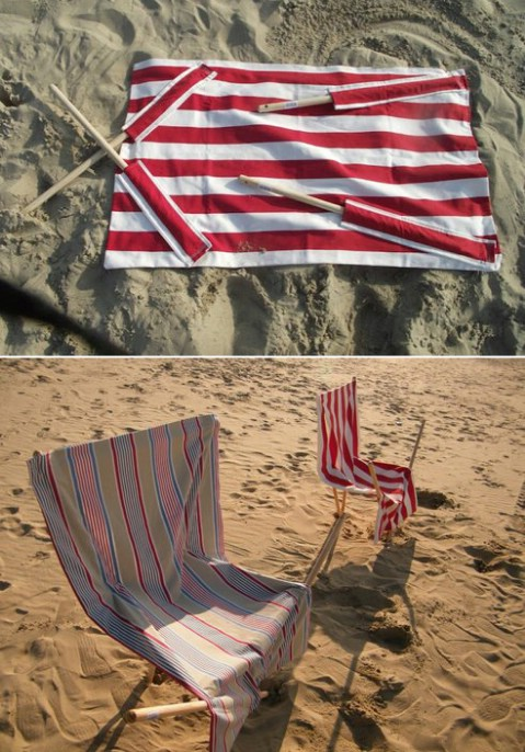 DIY Sand Chair Using a Towel and Broomsticks - 35 Summery DIY Projects And Activities For The Best Summer Ever