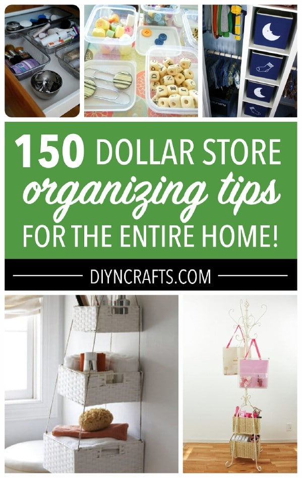 Dollar store organizing ideas collage photo.