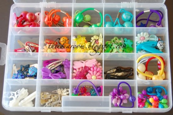 Craft Organizer Boxes Keep Hair Supplies Tidy - 150 Dollar Store Organizing Ideas and Projects for the Entire Home