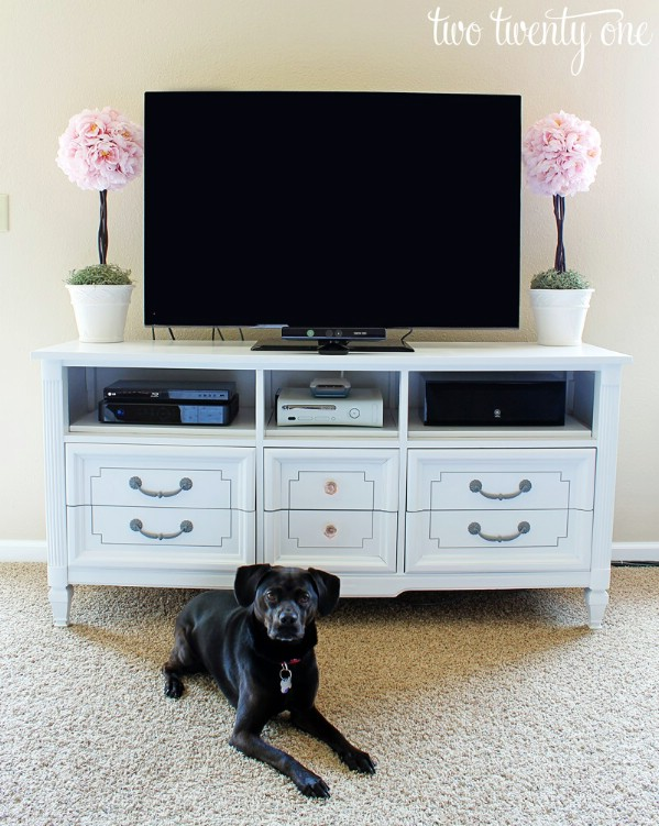 Dresser Turned TV Stand - Top 60 Furniture Makeover DIY Projects and Negotiation Secrets