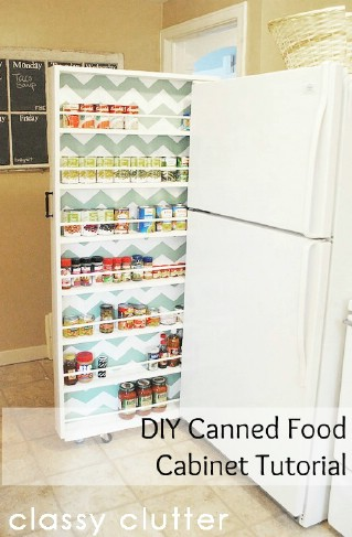 DIY Canned Food Organizer - Build your own extra storage! - 60+ Innovative Kitchen Organization and Storage DIY Projects