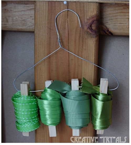 Hang Ribbons for Easy Storage - 150 Dollar Store Organizing Ideas and Projects for the Entire Home
