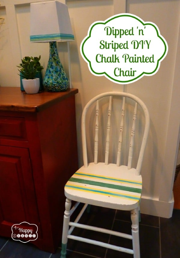 A Dipped 'n' Striped DIY Chalk (and Craft Paint) Painted Chair - Top 60 Furniture Makeover DIY Projects and Negotiation Secrets