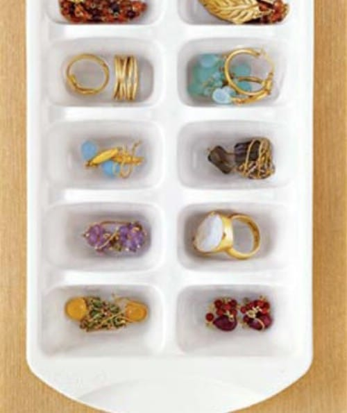 Store Jewelry in Ice Cube Trays - 150 Dollar Store Organizing Ideas and Projects for the Entire Home