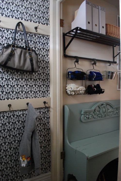Shower Rack Mud Room Organizing - 150 Dollar Store Organizing Ideas and Projects for the Entire Home