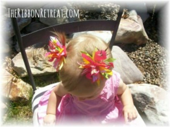 Spikey Pom Pom Bow - 30 Fabulous and Easy to Make DIY Hair Bows