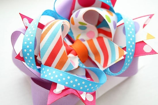 Twisted Funky Hair Bow - 30 Fabulous and Easy to Make DIY Hair Bows