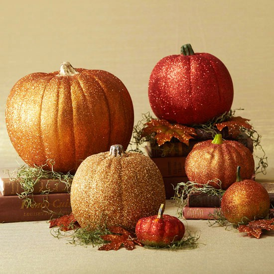 Glittery Pumpkins - 40 Easy to Make DIY Halloween Decor Ideas