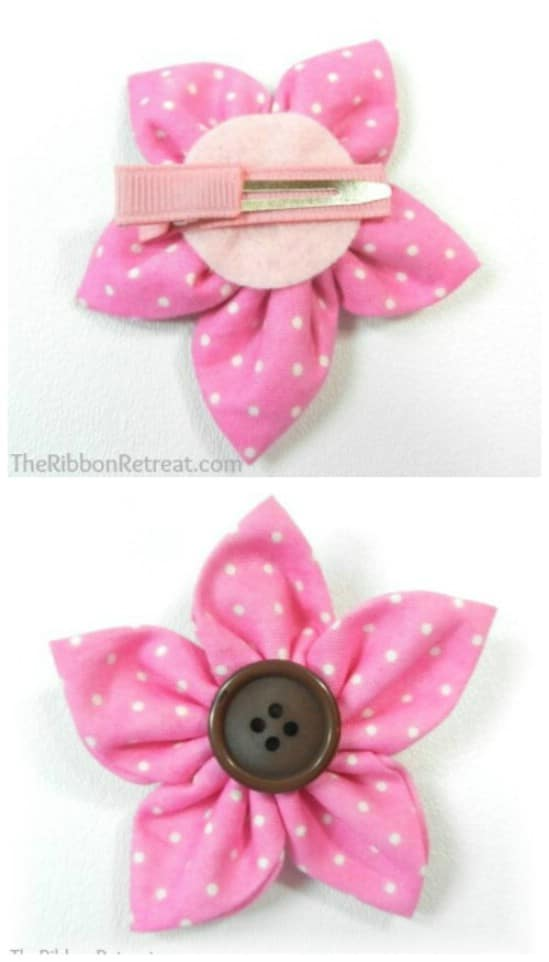 Ribbon Flower - 30 Fabulous and Easy to Make DIY Hair Bows