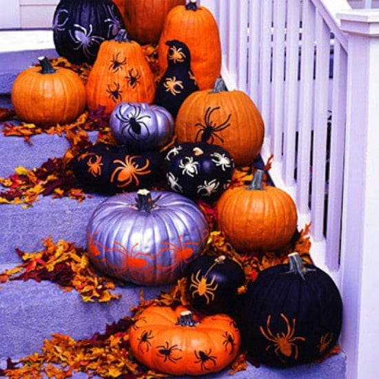 Stenciled Pumpkins - 40 Easy to Make DIY Halloween Decor Ideas