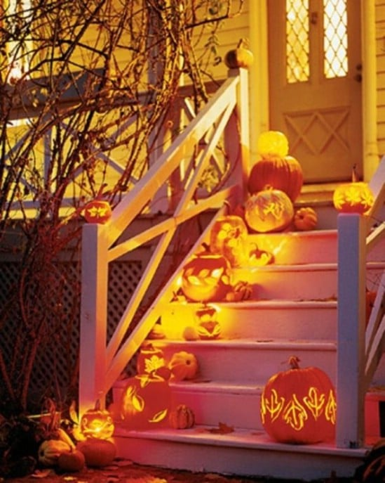 Bright and Scary Stairs - 40 Easy to Make DIY Halloween Decor Ideas