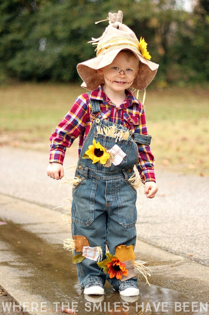 Toddler boy in scarecrow costume