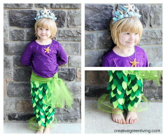 Girl in mermaid costume by brick wall