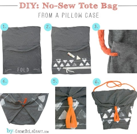 Tote Made From Pillow Case - 30 Extremely Creative No-Sew DIY Projects