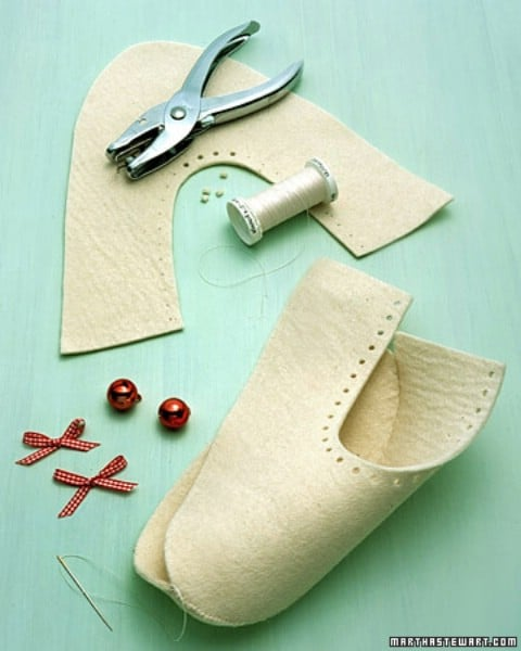 Jingle Bell Slippers - 30 Extremely Creative No-Sew DIY Projects