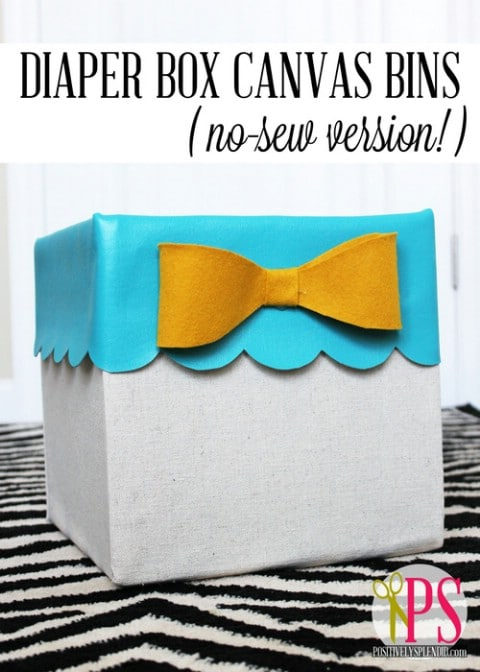 Canvas Storage Boxes - 30 Extremely Creative No-Sew DIY Projects