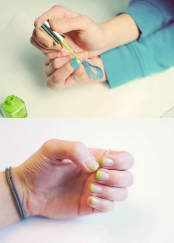 Use a Rubber Band to Fix Your French Manicure - 40 DIY Beauty Hacks That Are Borderline Genius