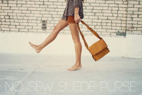 Suede Purse - 30 Extremely Creative No-Sew DIY Projects