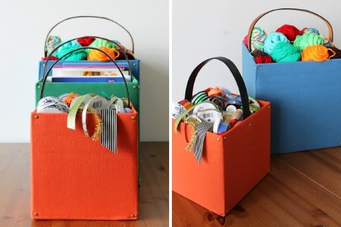 Belted Storage Totes - 30 Extremely Creative No-Sew DIY Projects