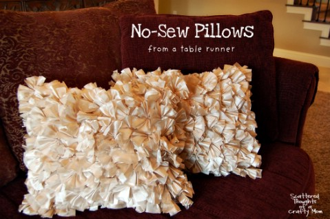 No Sew Ruffled Pillow - 30 Extremely Creative No-Sew DIY Projects