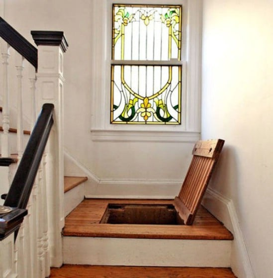 Hidden Stairway Storage - 15 Secret Hiding Places That Will Fool Even the Smartest Burglar