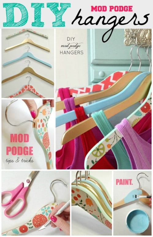 Decorative Mod Podge Hangers - 20 Creative Ways to Organize and Decorate with Hangers