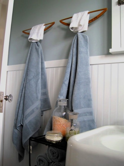 Wooden Hanger Towel Bars - 20 Creative Ways to Organize and Decorate with Hangers
