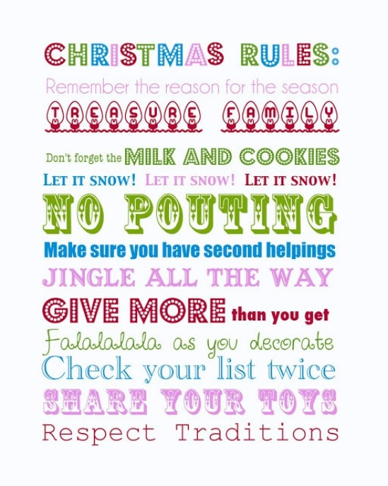 Christmas Rules Printable - Over 50 Creative Christmas Printables Collection