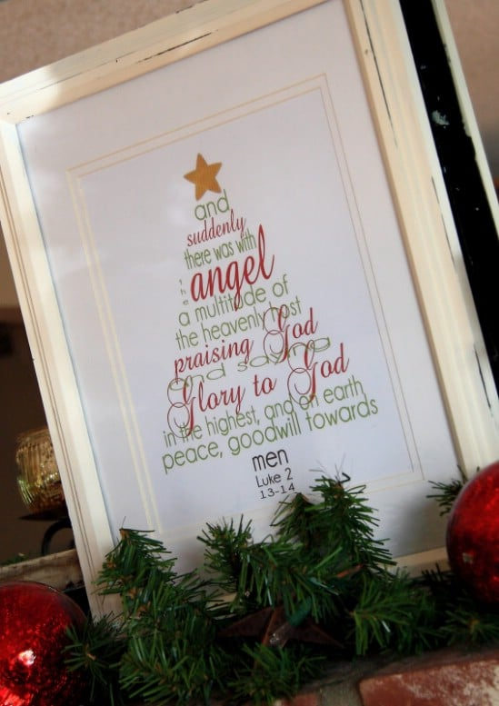 Christmas Scripture Word Tree Printable - Over 50 Creative Christmas Printables Collection