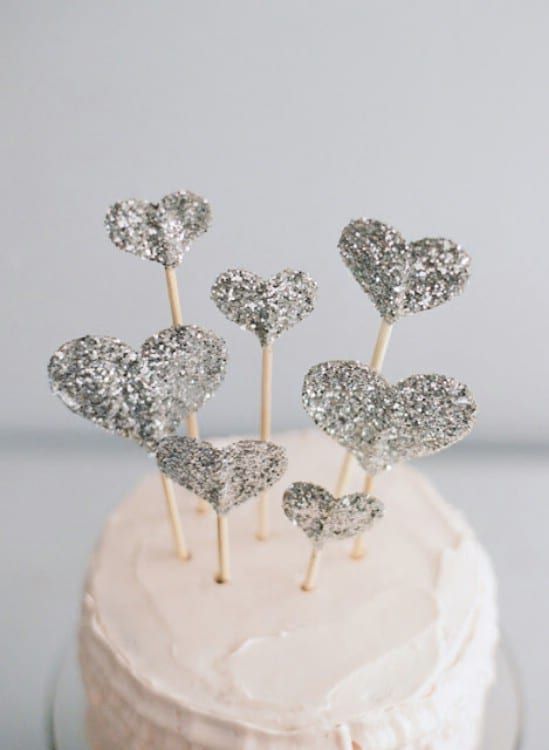 Glitter Heart Cake Topper - 28 Fun and Easy DIY New Year's Eve Party Ideas