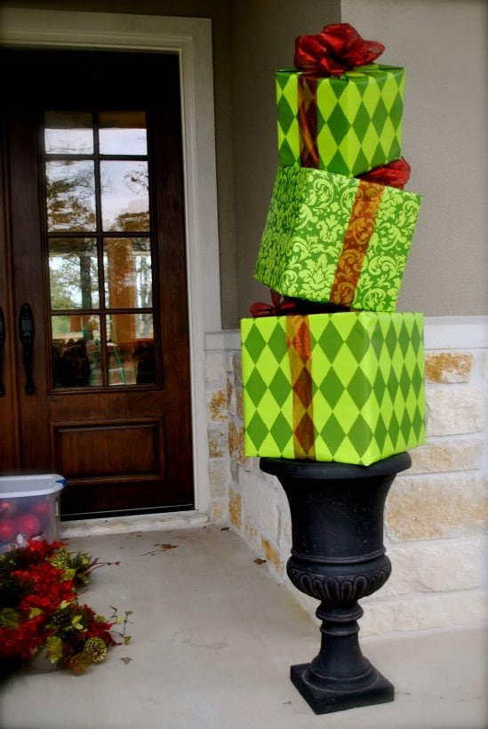 Make a Gift Topiary - 60 Beautifully Festive Ways to Decorate Your Porch for Christmas