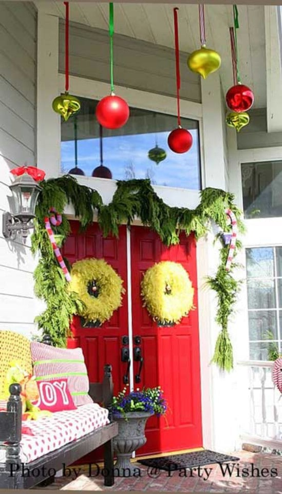 The Grinch - 60 Beautifully Festive Ways to Decorate Your Porch for Christmas
