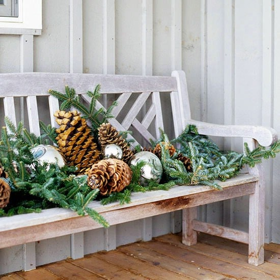 Dress up Your Bench - 60 Beautifully Festive Ways to Decorate Your Porch for Christmas
