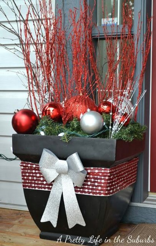 Decorative Pots - 60 Beautifully Festive Ways to Decorate Your Porch for Christmas
