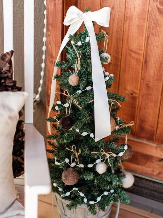 Mini Christmas Trees - 60 Beautifully Festive Ways to Decorate Your Porch for Christmas
