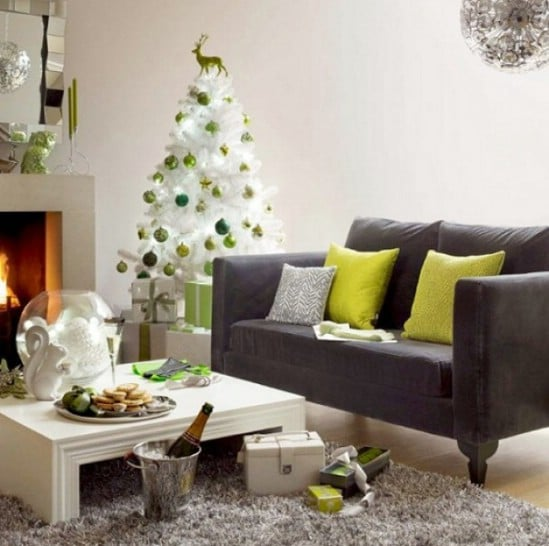 Green and White - 30 Stunning Ways to Decorate Your Living Room This Christmas
