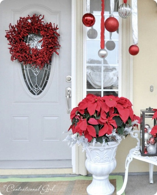 Poinsettias - 60 Beautifully Festive Ways to Decorate Your Porch for Christmas